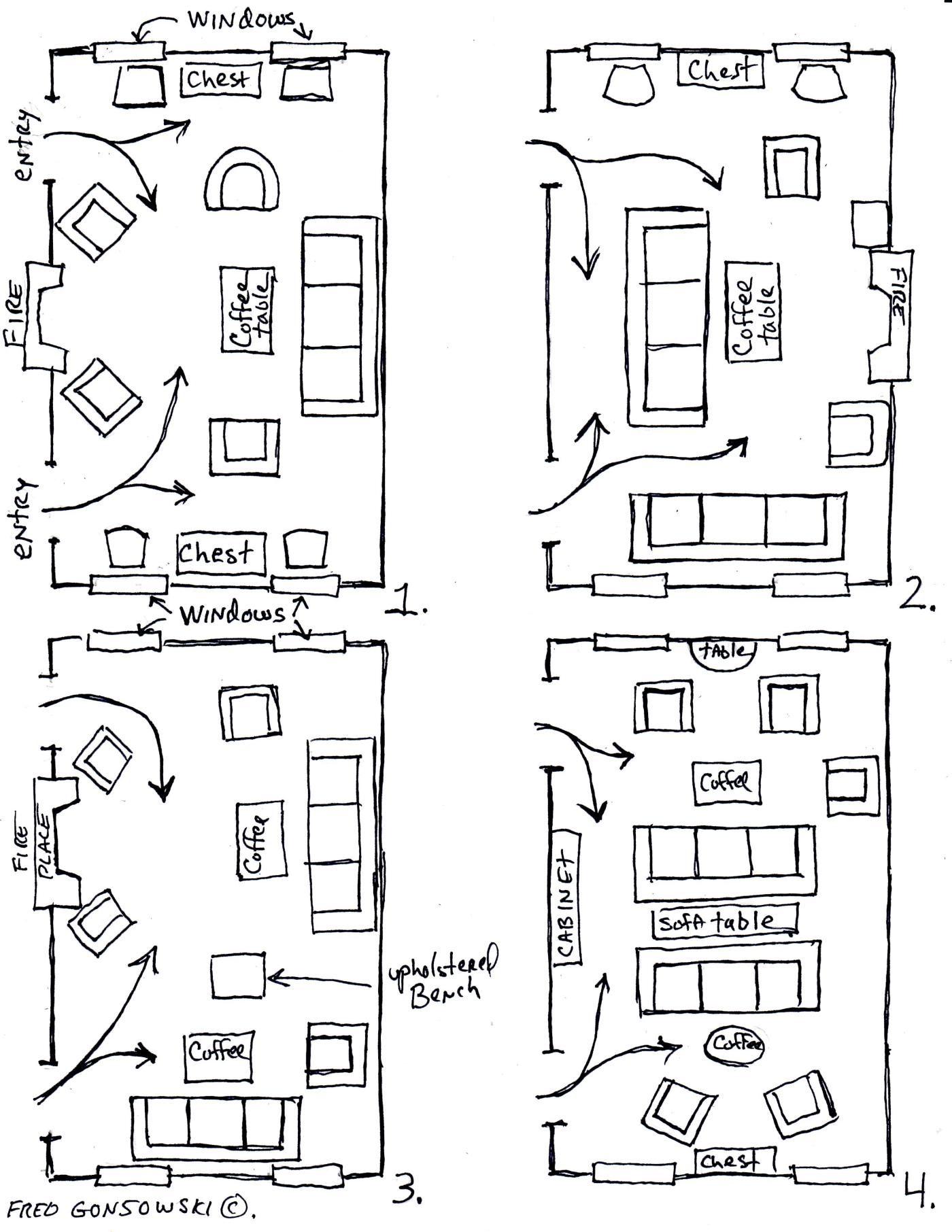 Arranging furniture TWELVE different ways in the Same Room | Fred ...