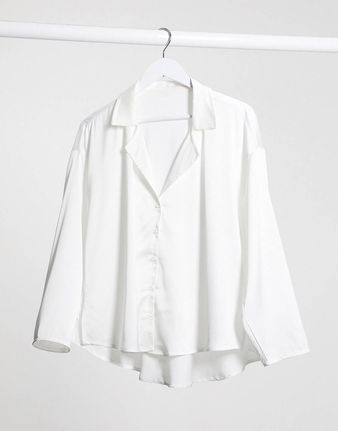 Photo of ASOS DESIGN mix & match satin shirt in white | ASOS