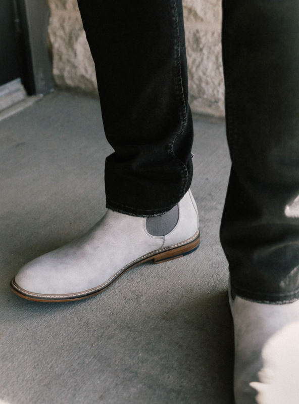 men's grey suede Chelsea boot