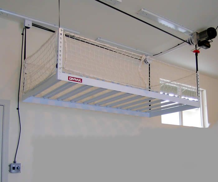 Motorized Storage Garage Storage Lift No Ladder Required Diy Overhead Garage Storage Garage Ceiling Storage Ceiling Storage