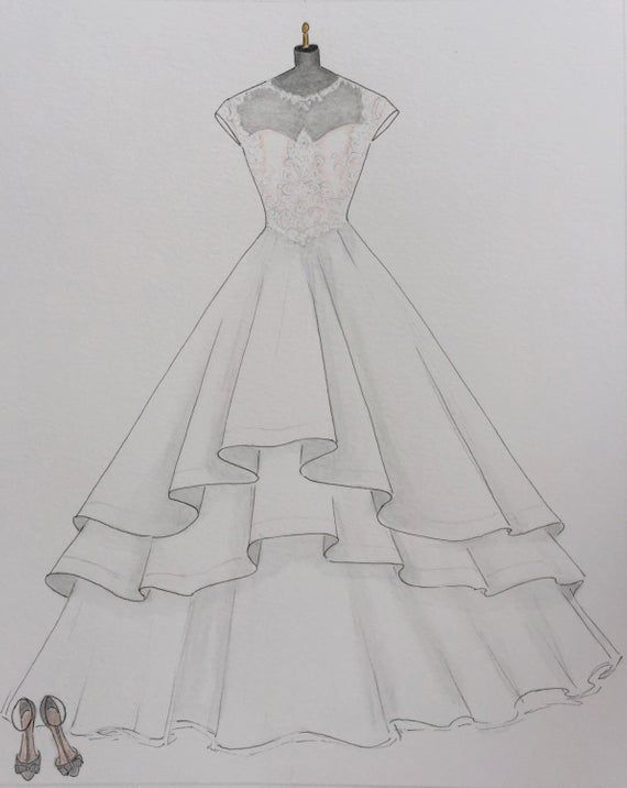 Photo of #Wedding dress sketch #Wedding dress hand drawing #Yes # Custom
