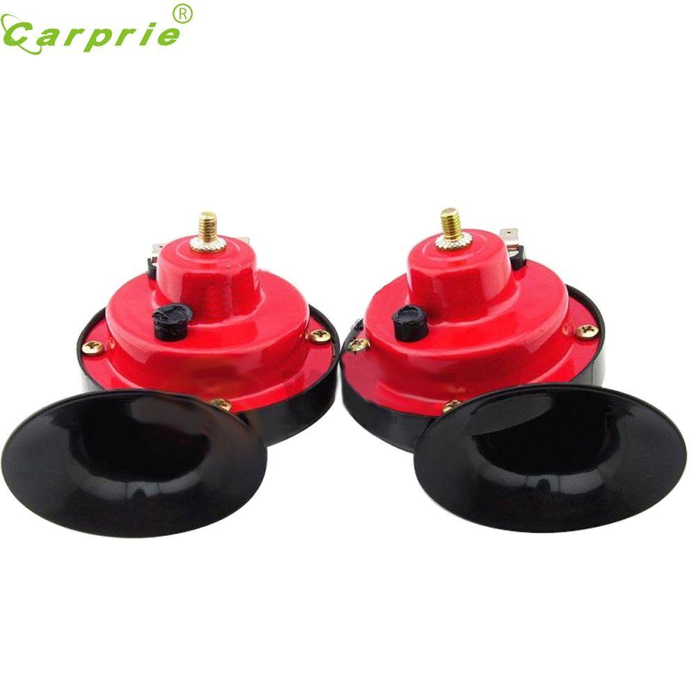 Tiptop New One Pair 12v Loud Car Dual Tone Snail Electric Air Horn Multitone Siren Universal