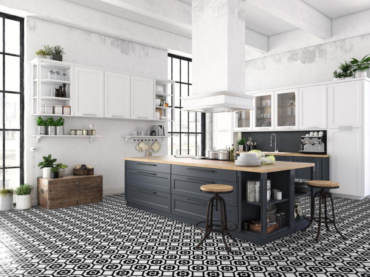 Cinca Carrelage Sol Mur Interieur Gres Cerame Heritage Decor Coimbra C7 Noir Blanc Mat 20x20 Cm Point P Cuisines Design Cuisine De Luxe Cuisine Moderne