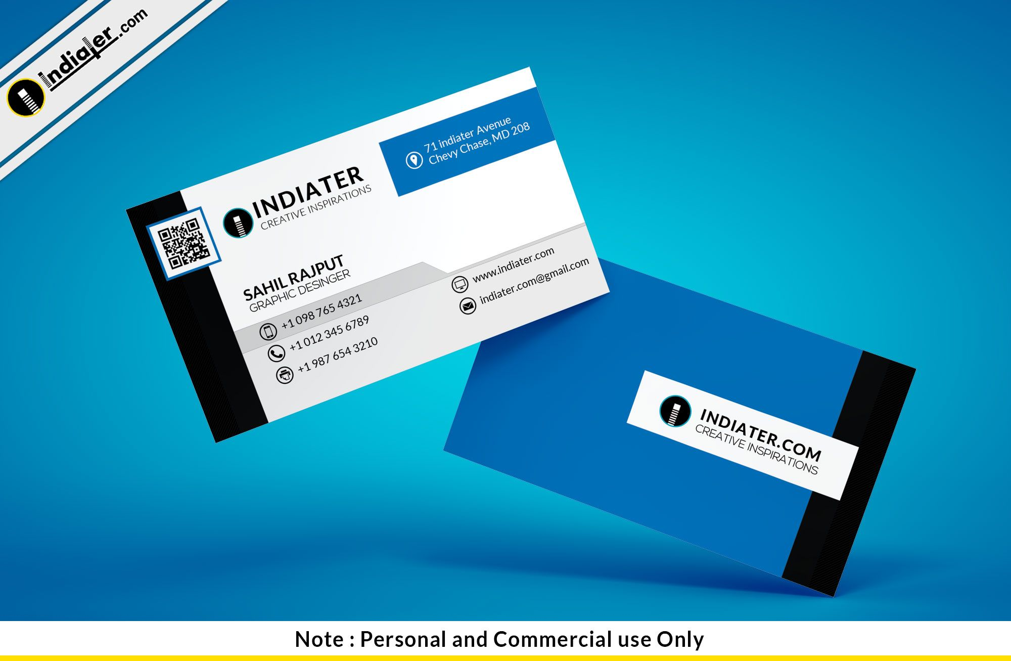 Free blue minimalist business card psd template business