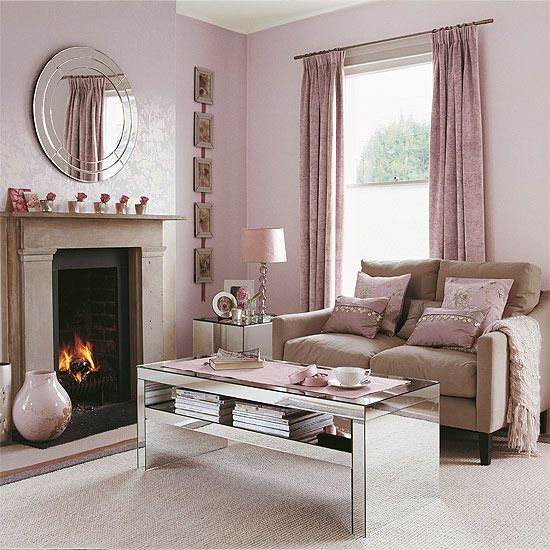 Ideas For Decorating Plush Pink Sofa Living Room: Shell Pink Living Room With Reflective Accessories