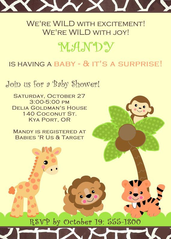 Baby shower jungle safari zoo animals invitation for girl boy or baby shower jungle safari zoo animals invitation for girl boy or gender unknown filmwisefo Image collections