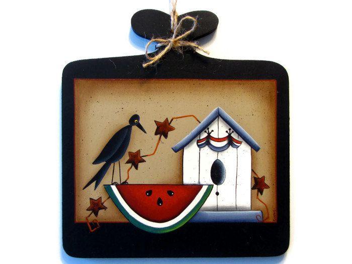 Primitive Crow Watermelon Birdhouse Sign Handpainted Wood Plaque