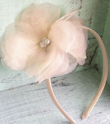 Champagne Organza Flower Headband, Women's Headband, Girls Headband, Bridal Hair Accessory, Baby's Flower Headband, Elastic Headband, Satin