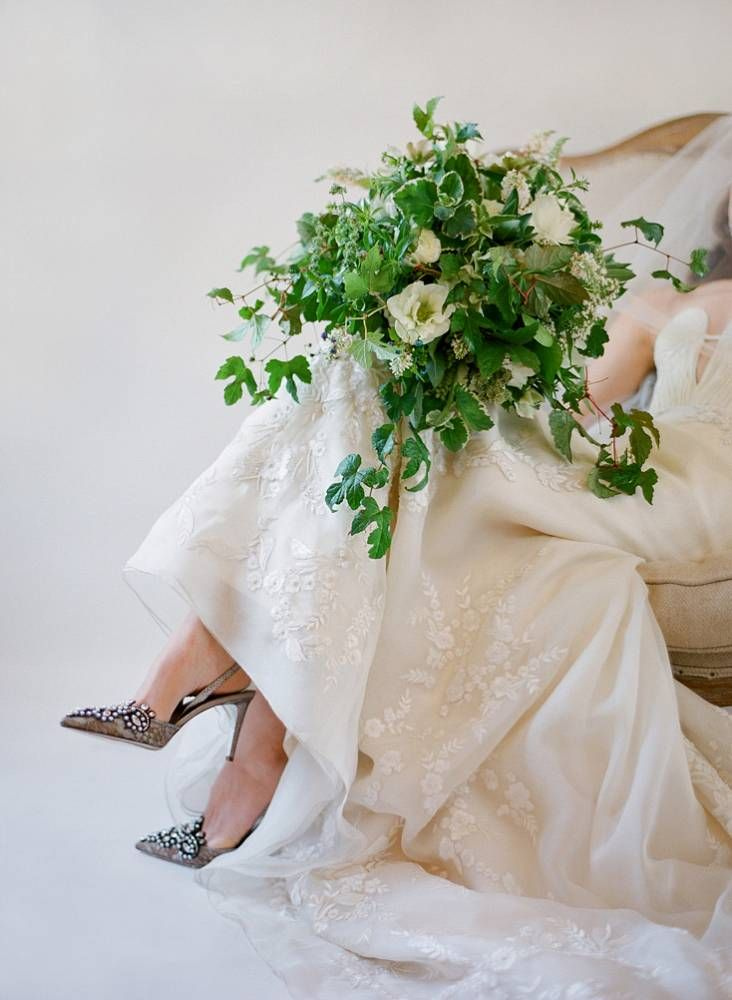 green and white bouquet by beehive events photo by jose villa
