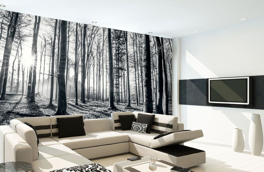 1Wall BLACK AND WHITE FOREST WALLPAPER WALL MURAL PHOTO WOODLAND BEDROOM  OFFICE | EBay