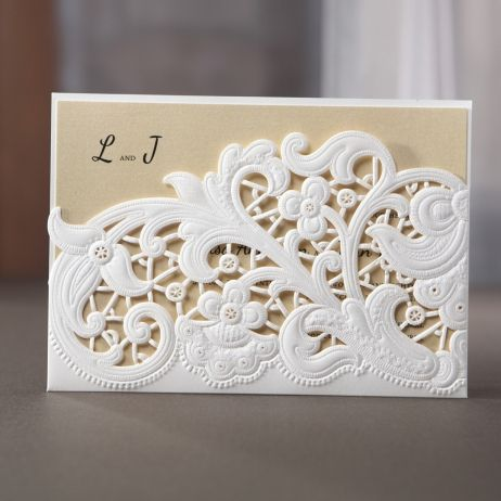 The lasercut detail brings elegance and unique beauty to this gold ...