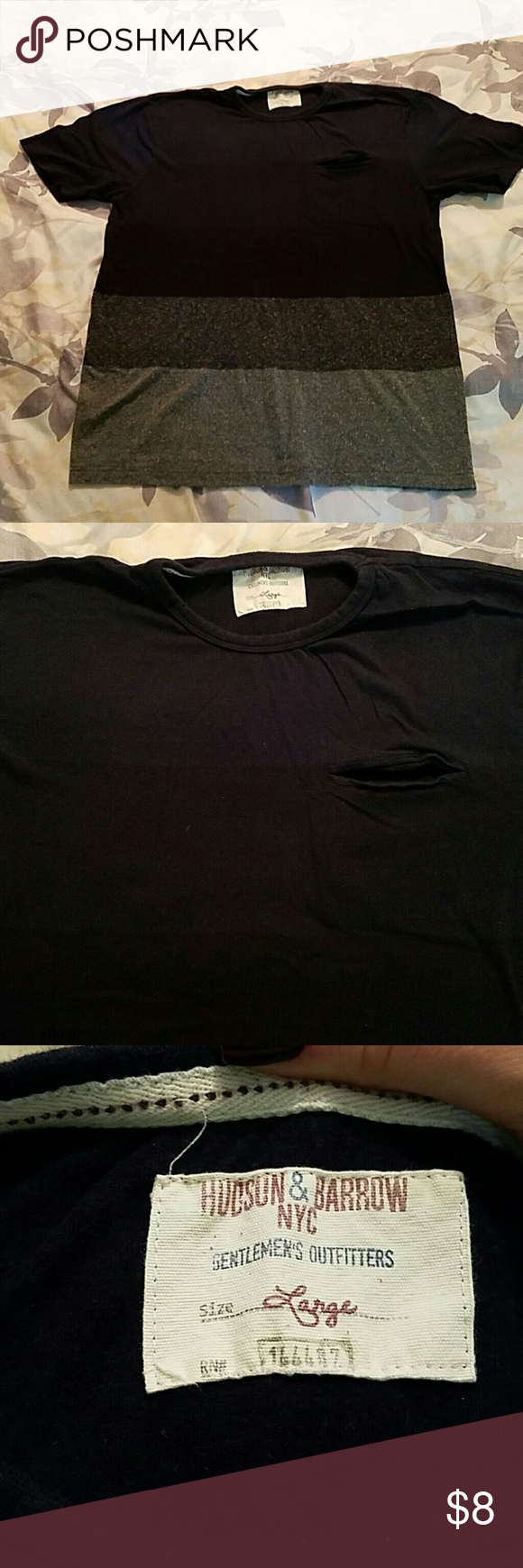 Men's color block t-shirt Black and gray colorblock tee with a small chest pocket. Says large but fits more like a medium or I guess it would be a tight fitting large. Hudson & Barrow NYC Shirts Tees - Short Sleeve