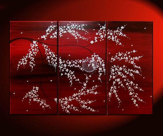 Wall art riche rouge triptyque arbre fleur peinture crimson bordeaux et blanc arbre branches - Tableau triptyque fleurs blanches ...