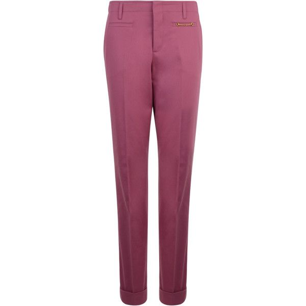 GUCCI Cotton Stretch Roll Hem Trousers ($655) ❤ liked on Polyvore featuring pants, gucci, pink, gucci pants, pink pants, zipper pants, roll up pants and purple pants