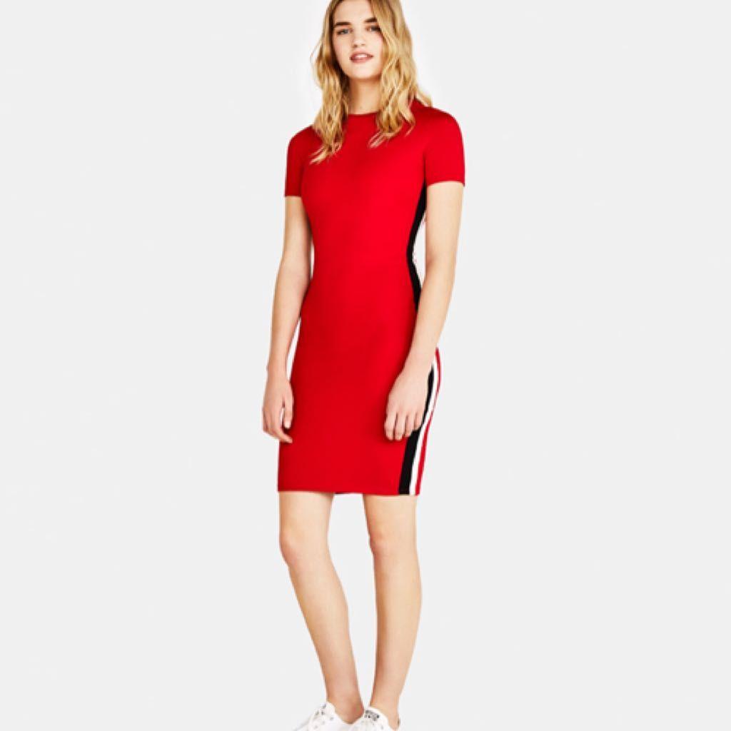robe rouge avec bande noir et blanc giftryapp m o d e. Black Bedroom Furniture Sets. Home Design Ideas