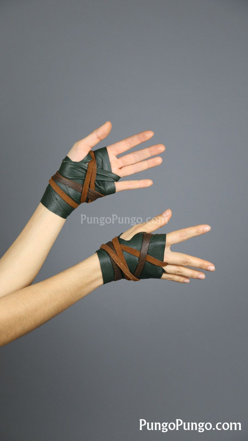 Fingerless gloves for musicians - Green Leather Hand Wraps Brown Barbarian Costume Larp Steampunk Daenerys Fingerless Gloves Mad Max Game