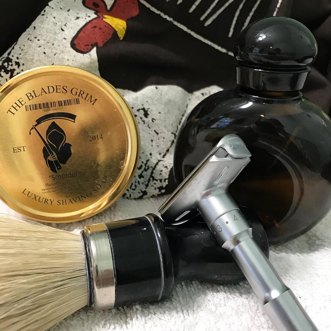 Shave Of The Day The Blades Grim Smolder Shave Soap Omega 98 Brush Qshave Adjustable Double Edge Razor And Finished With Halston