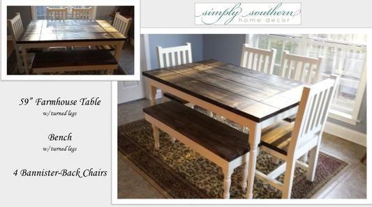 Farm Table, Bench, Handmade Chairs