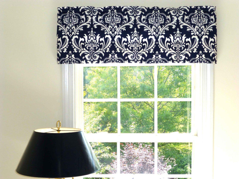 Navy Blue White Window Curtain Valance W Ruffled Top Amazon Com Home Kitchen Window Valance Window Treatments Valance