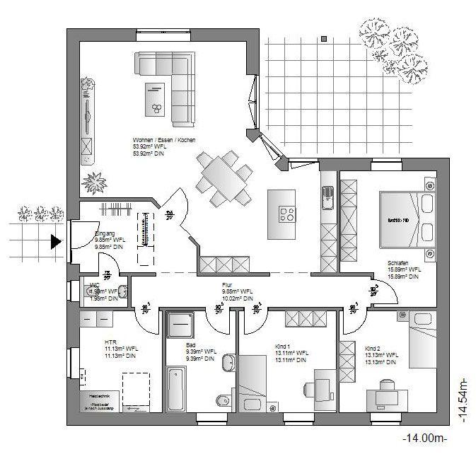 Die hauskreation bungalow von haus bietet leben auf for Bungalow planen grundriss