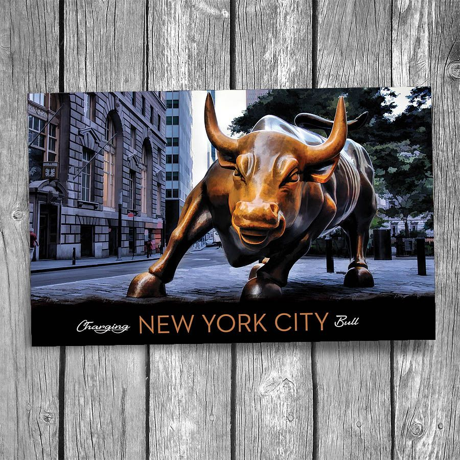 wall street charging bull new york city postcard with on simply wall street id=20560