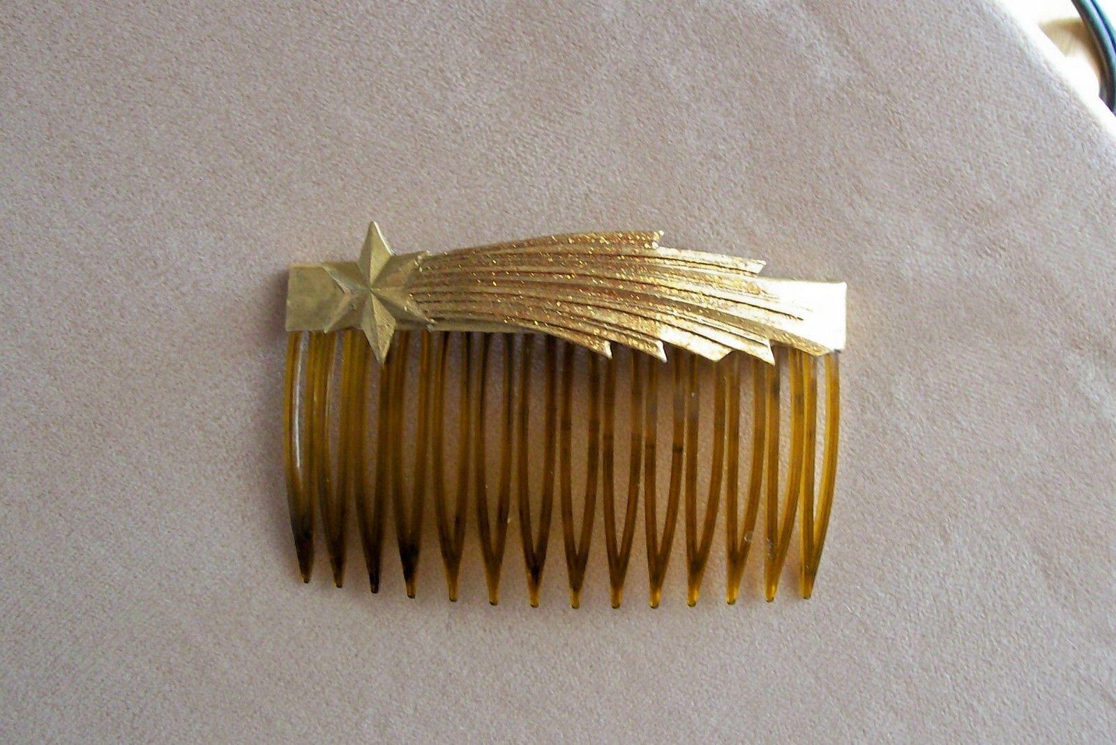 Vintage USA Studio 25 Designs Shooting Star NOS Tortoise Color Hair Comb Brooch | eBay