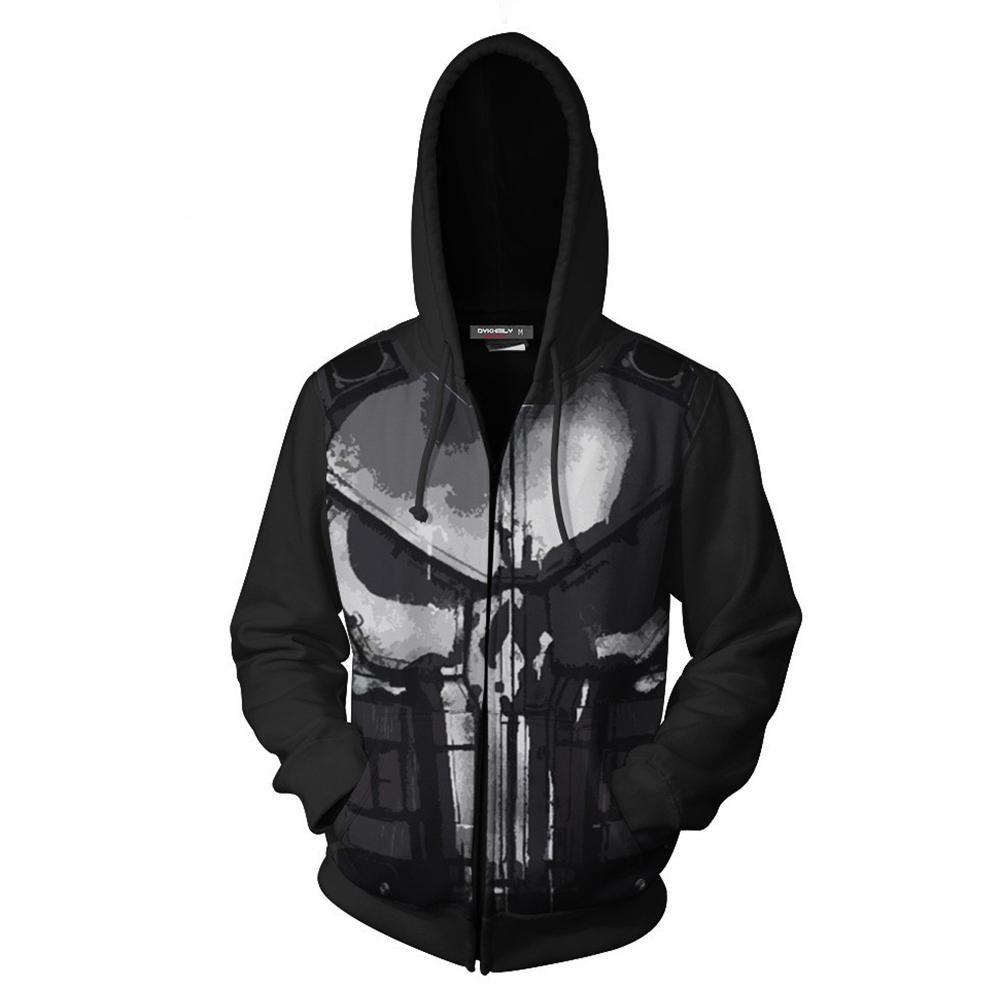 Marvel Hero Punisher 3D Hoodie Sweatshirt Cosplay Costume Tops coat jacket