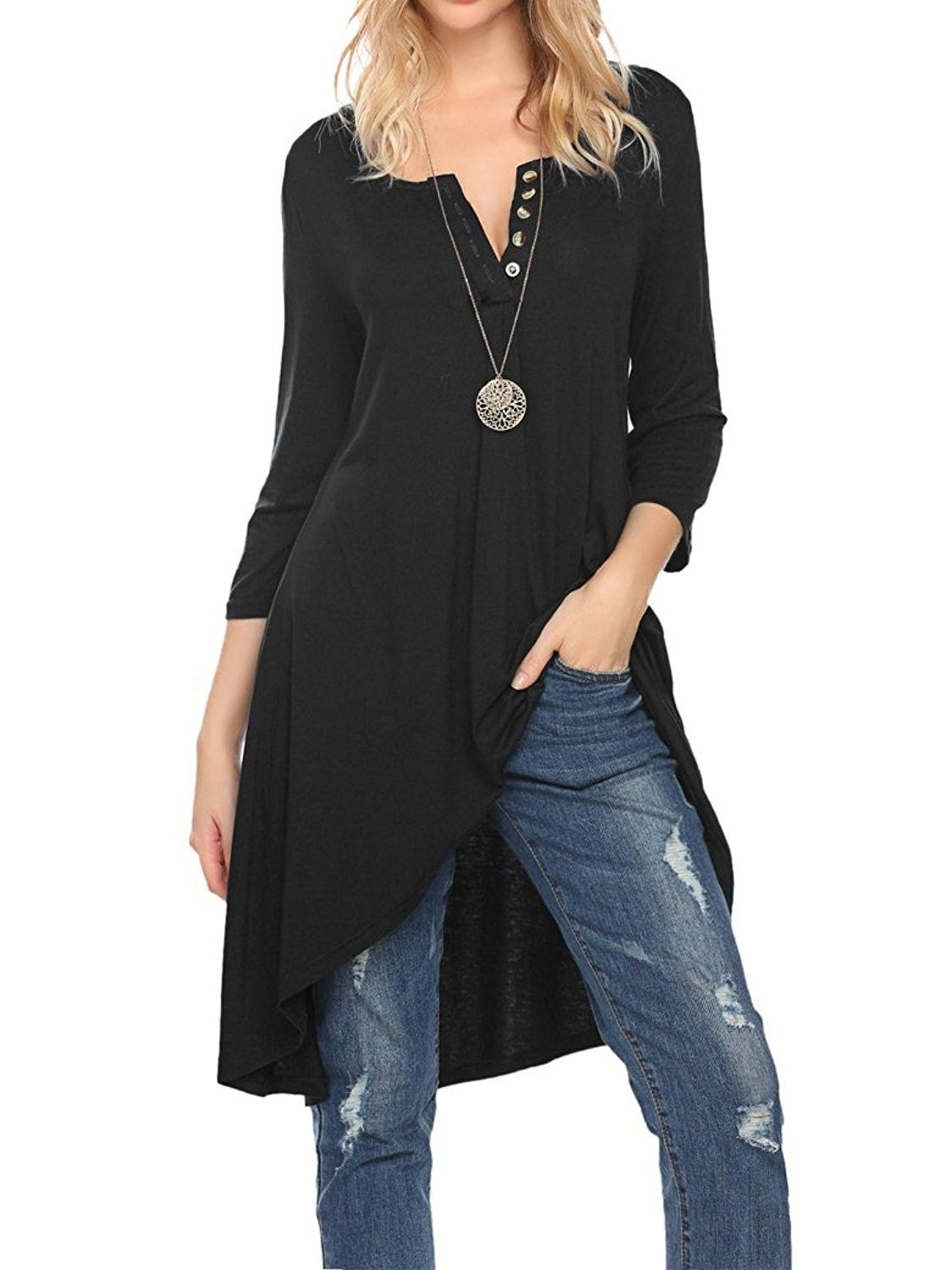 6a7c3d7fb8 Nagoo Women s Half Sleeve High Low Loose Fit Casual Tunic Tops Tee Shirt  Dress - Black - CB12N2T99AA