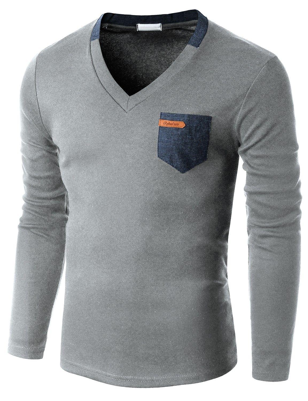 Doublju Men S Long Sleeve V Neck T Shirt With Contrast Pocket
