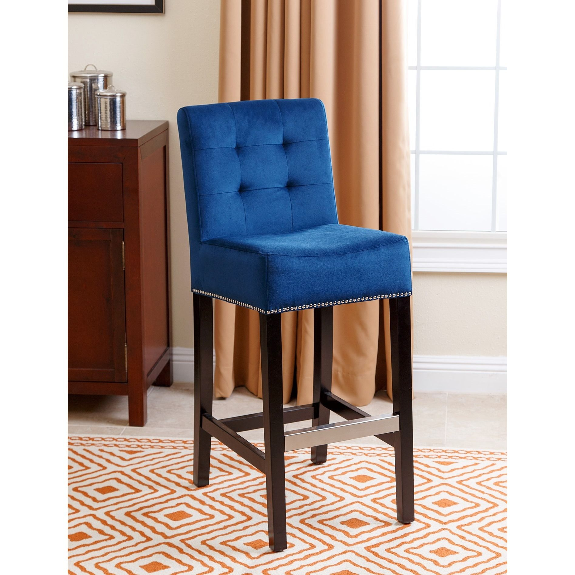 Abbyson Masimo Navy Blue Velvet Bar Stool Navy Blue Felt