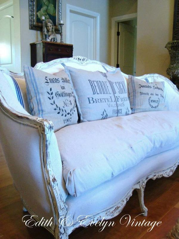 The French Sofa Redo Painted Furniture Grain Sack And Drop Cloth Upholstery