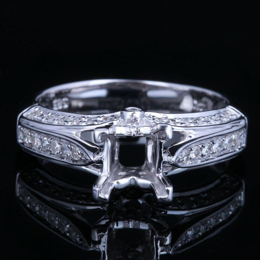 10k White Gold 5 6mm Princess Natural Si Diamond Engagement Semi Mount Fine Ring White Gold Fine Diamond Ring Idea