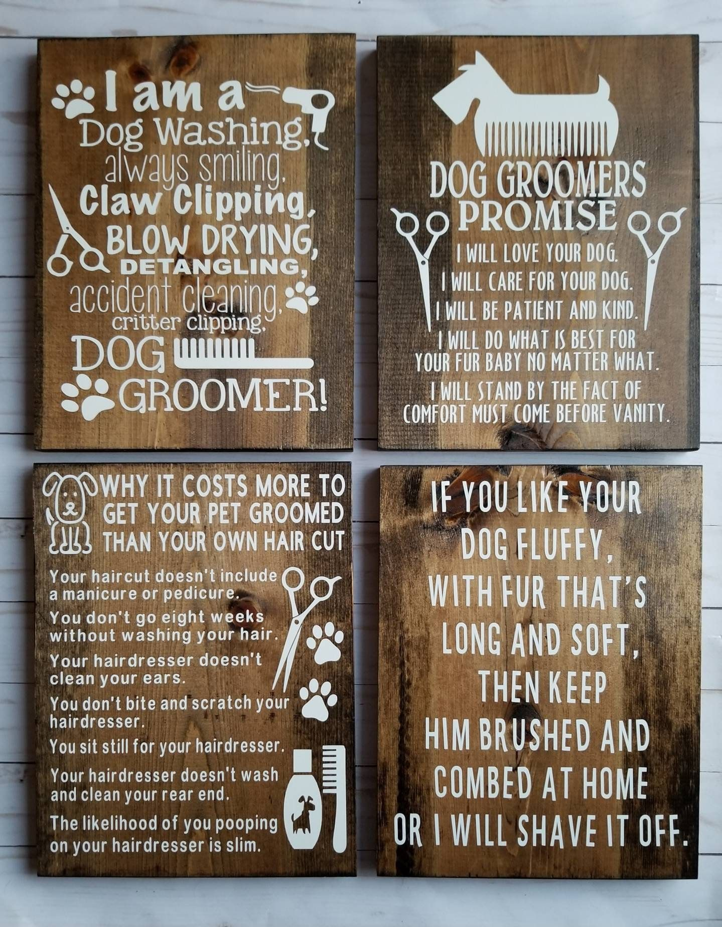 Dog Groomer Gift Business Signs Dog Grooming Rustic Home Decor