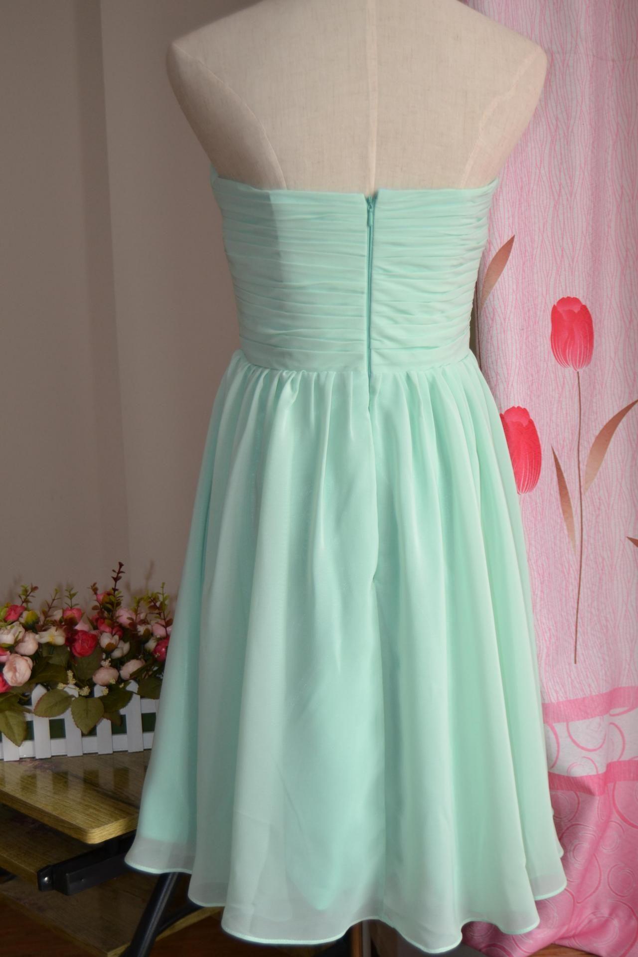 Knee length bridesmaid dresses mismatch mix match mint green dresses