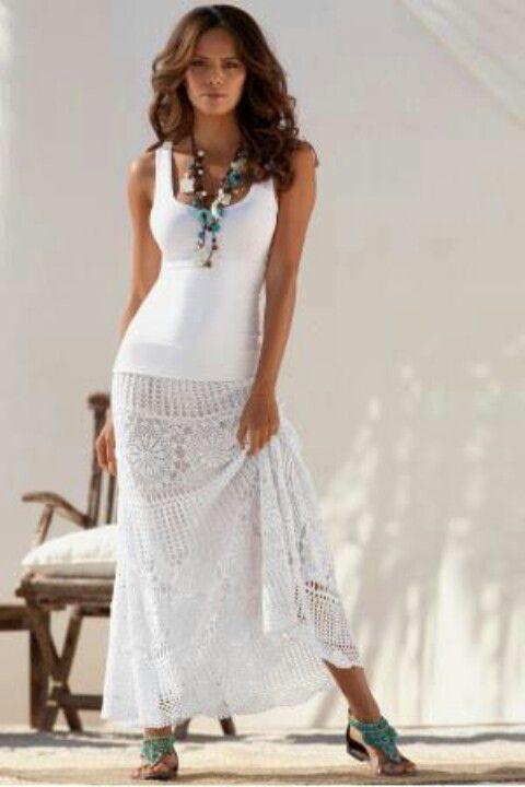 Falda larga Blanca  5441f44b058