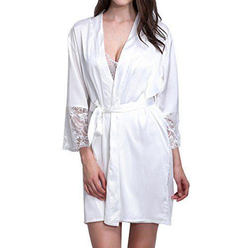 2f33122195 LAPAYA Womens Short Kimono Robe Lingerie Bridal Silky Lace Trim Satin  Sleepwear White Tag Size XLUS