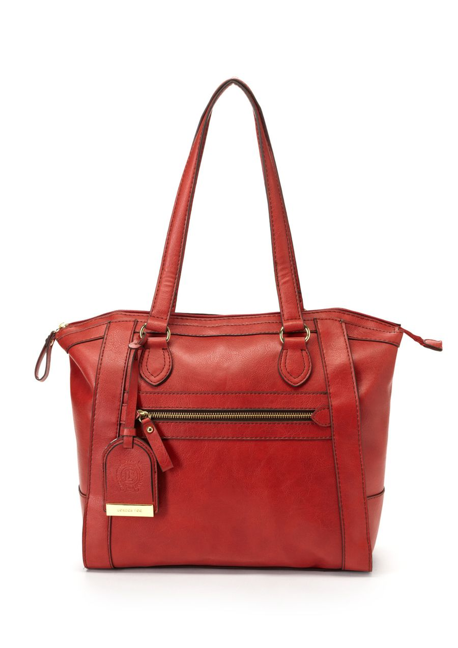 Fielding Tote Water-resistant faux leather tote; Features allover contrast trim; Zippered top closure; Dual carry handles with optional logo fob; Features a front slotted pocket and back zippered pocket; Embossed details at sides of bag; Lined interior features 3 slotted pockets and 1 zippered pocket; Allover gold-tone hardware; Flat bottom design with protective feet Bags #Handbags
