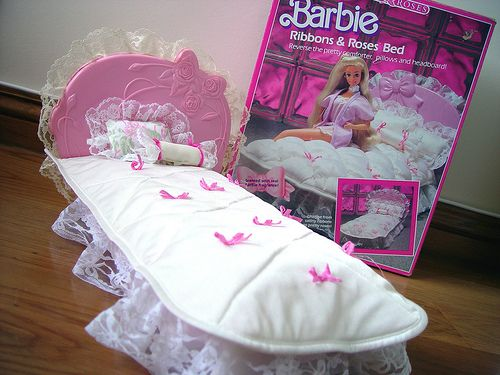 Barbie   Barbie Ribbons Roses Bed  Gaby and Michelle the beds we had for  our Barbies. Barbie Ribbons   Roses Bed   Childhood  Nostalgia and Childhood toys