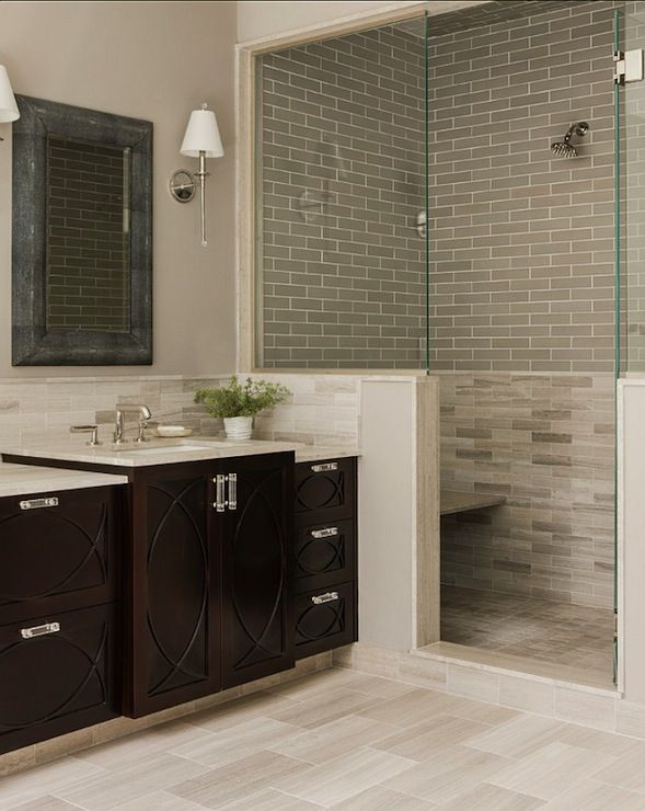 Benjamin Moore - Silver Fox - natural stone, greige tile, greige tiled shower surround, natural s...