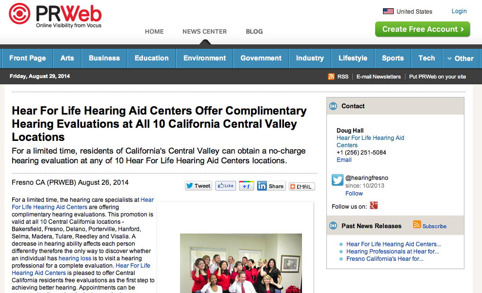 Hear For Life Hearing Aid Centers Offer Complimentary