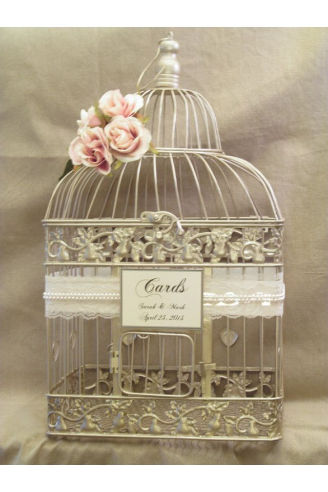 Etsy Birdcage For Wedding Envelopes Such A Cute Idea Card Box Wedding Gift Table Wedding Wedding Birdcage