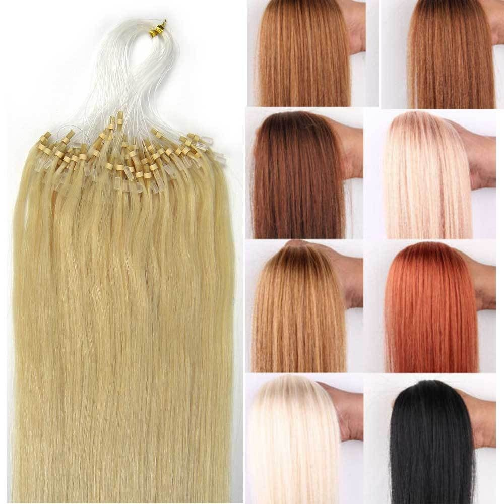 Easy Loop Micro Rings Beads Tip Remy Human Hair Extensions Straight