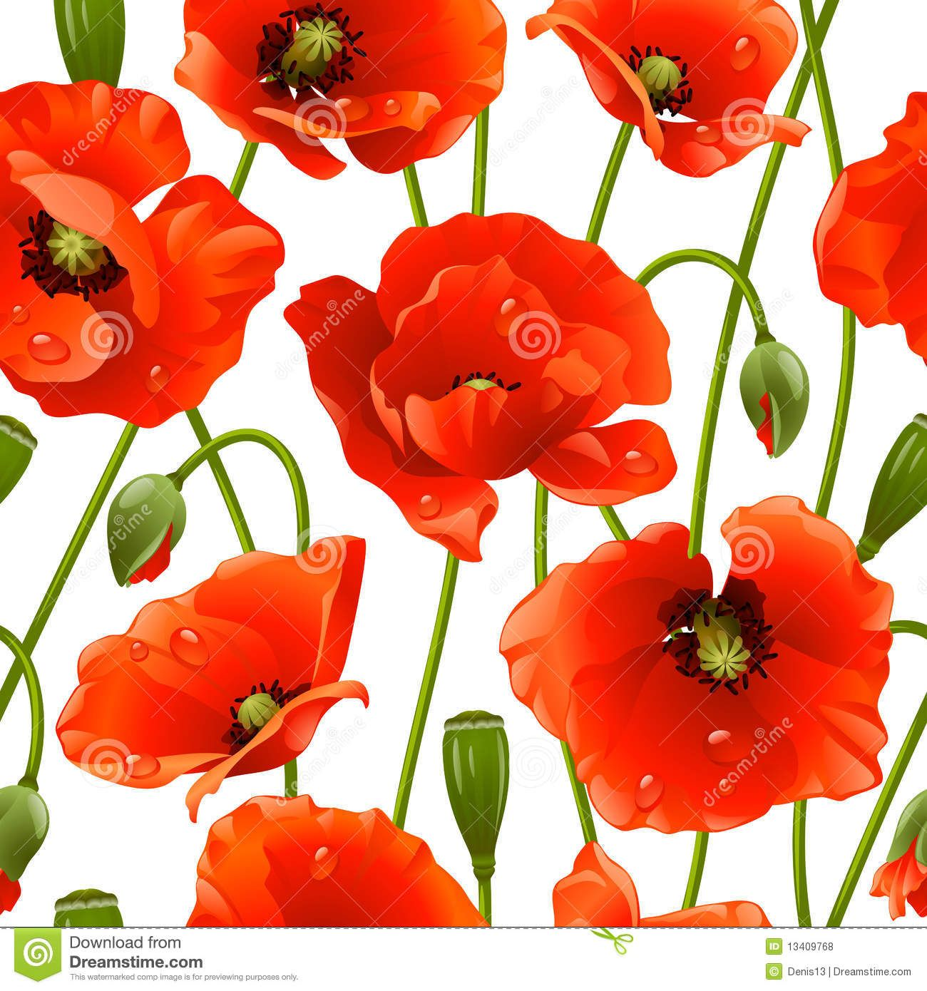 Seamless background poppy stock vector. Illustration of