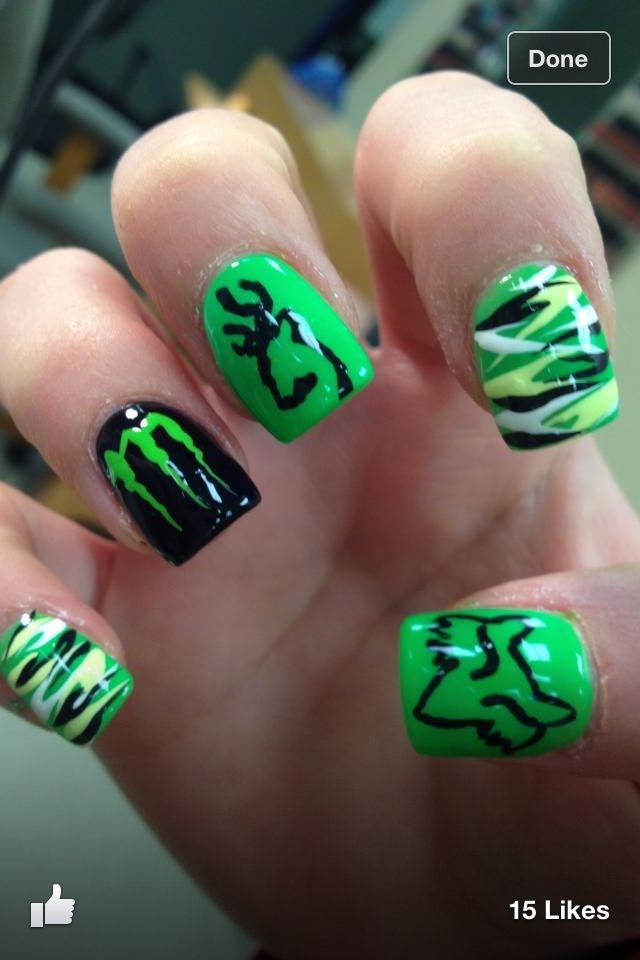 Cute green camo, browning, monster, and fox nails - Lime Green Gel Nails - Browning Nail Designs Graham Reid