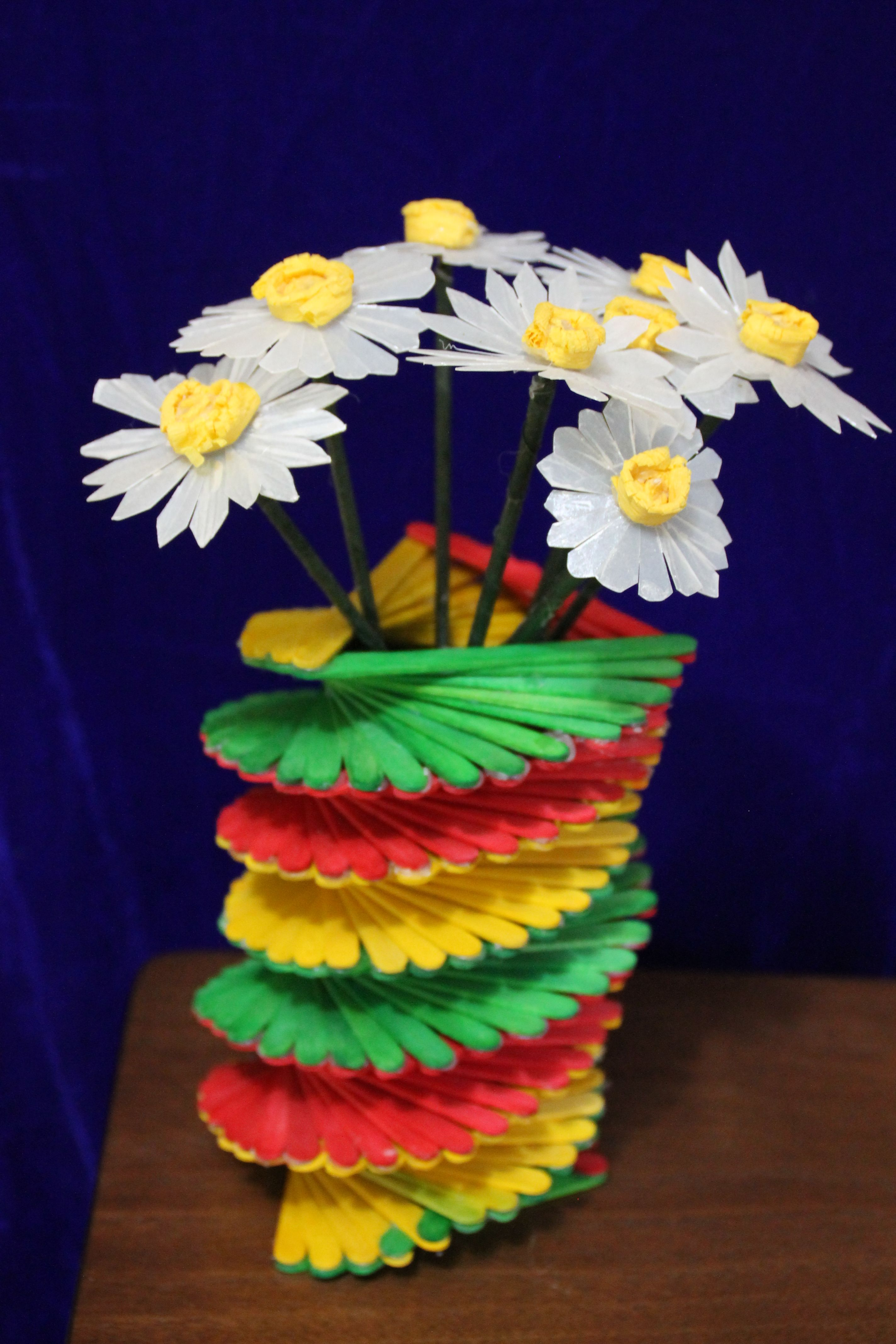 Icecreamsticks vase milkcan flowers best waste for Innovative craft ideas from waste