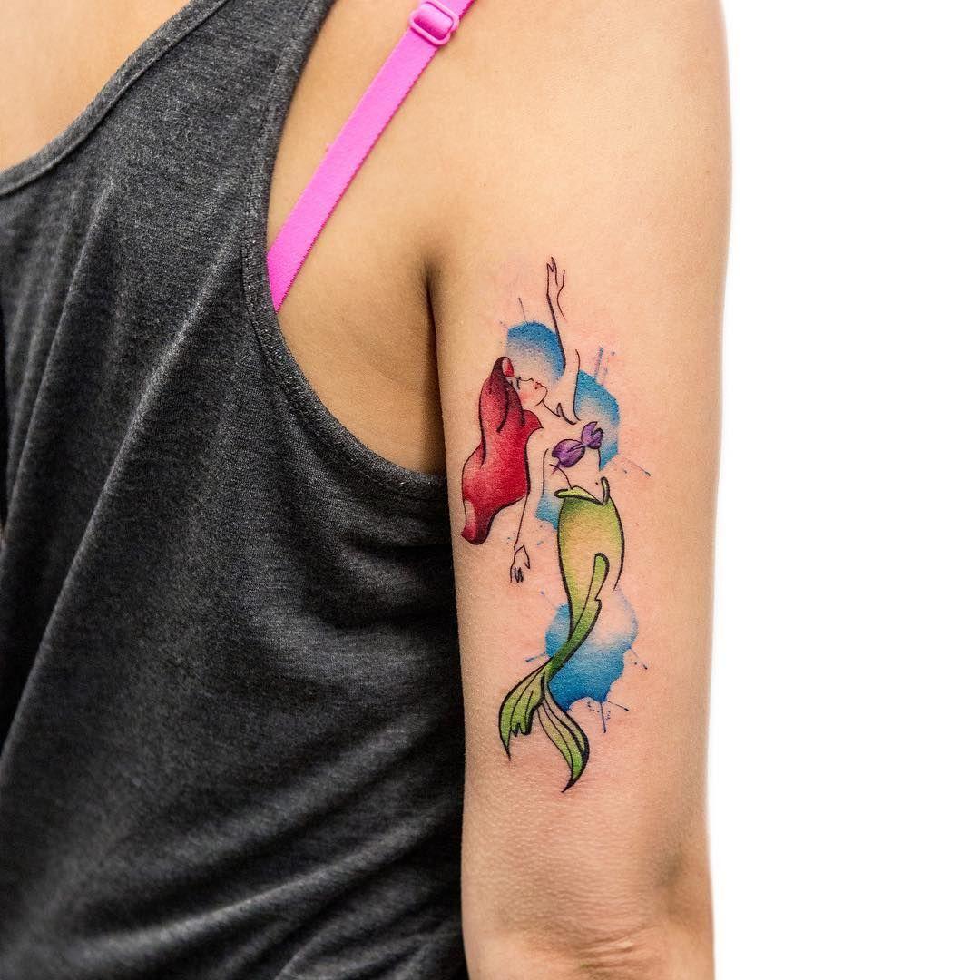 Small Watercolor Ariel Tattoo Mermaid Tattoos Little Mermaid Tattoos Tattoos