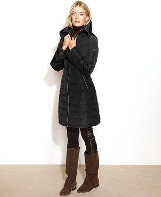 MICHAEL Michael Kors Coat, Quilted Long-Length Puffer - Coats ...