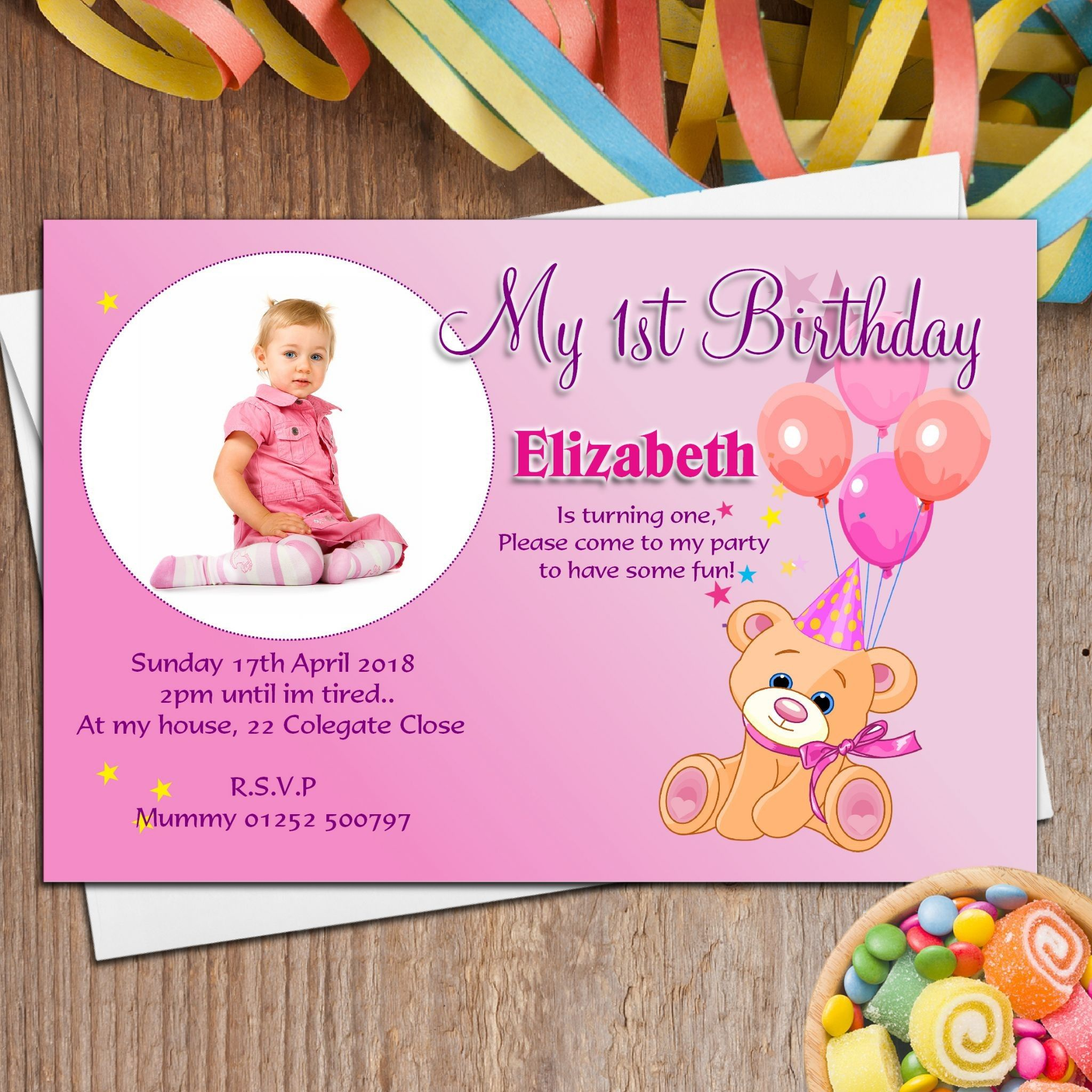 Sample Of Invitation Card for 1st Birthday Beautiful Example Of 1st ...
