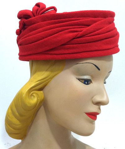 Jackie Style Red Wool Draped Pillbox Hat circa 1960s - Dorothea's Closet Vintage