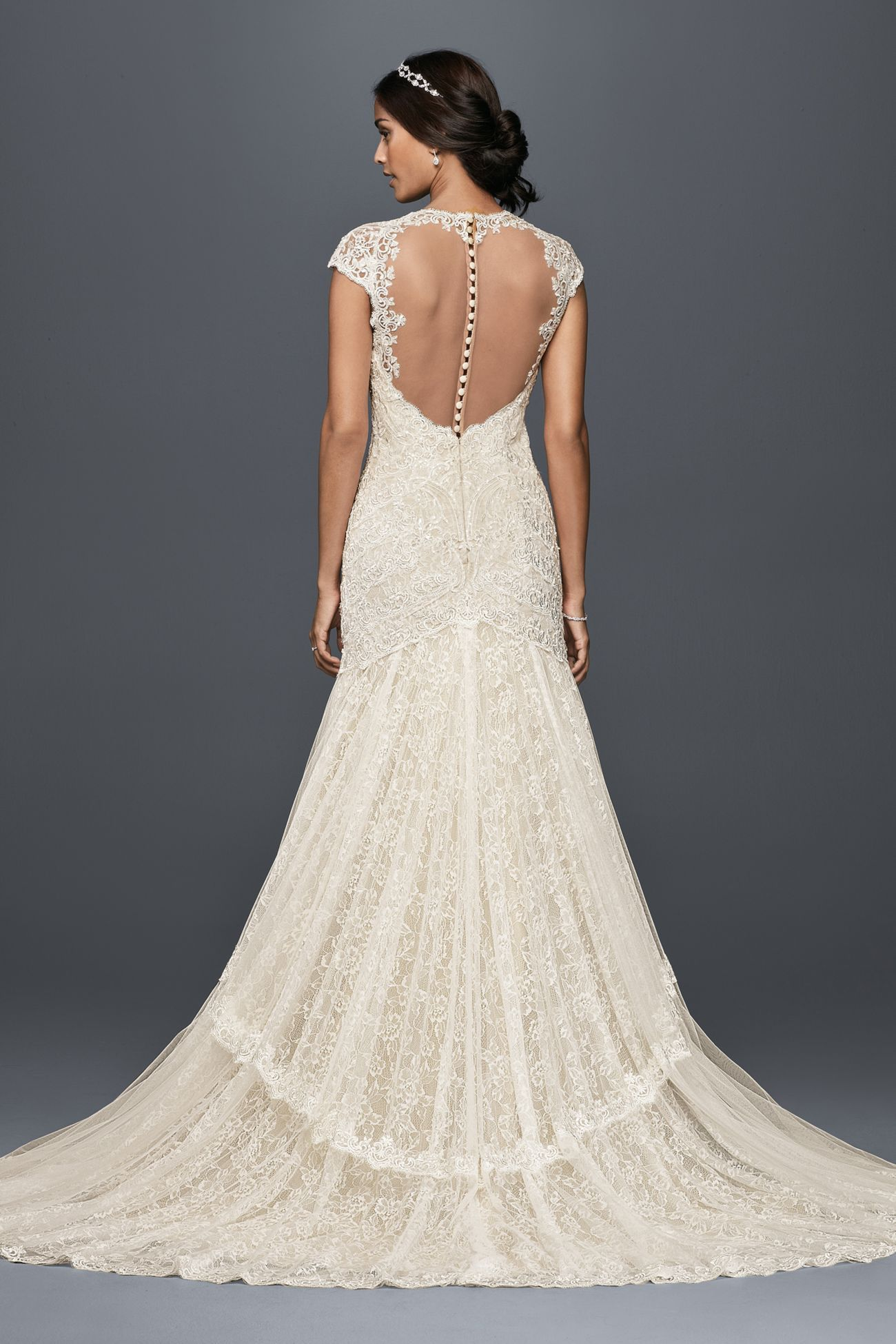 0e3f837811e09 Tiered Lace Mermaid Wedding Dress with Beading by Melissa Sweet (David's  Bridal Exclusive) -- MS251175 at David's Bridal (Love the bodice, sleeves,  back, ...